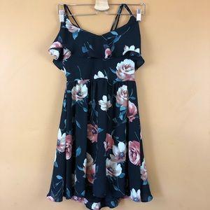 Xhilaration Black floral cross back dress